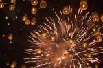 Ballons und Feuerwerk